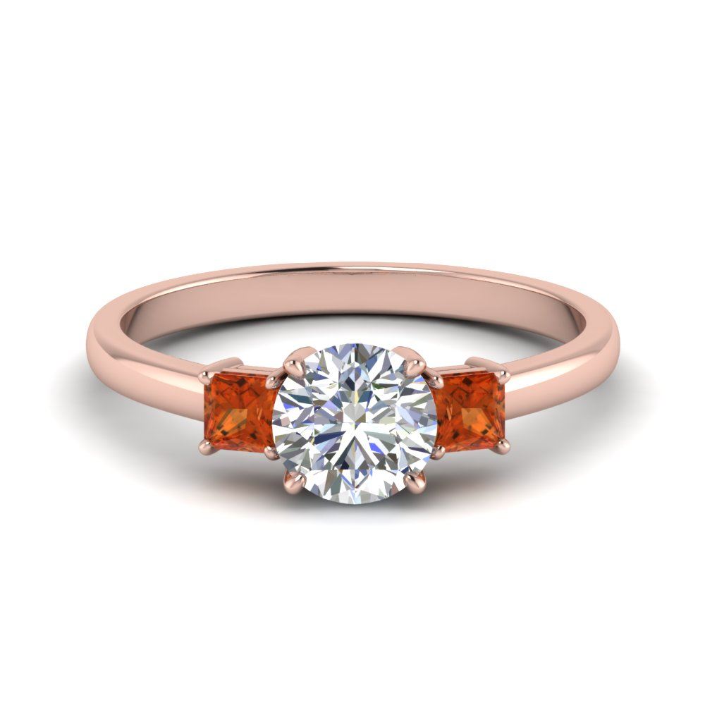 3 stone round cut engagement ring with orange sapphire in 14K rose gold FDENS3107RORGSAOR NL RG