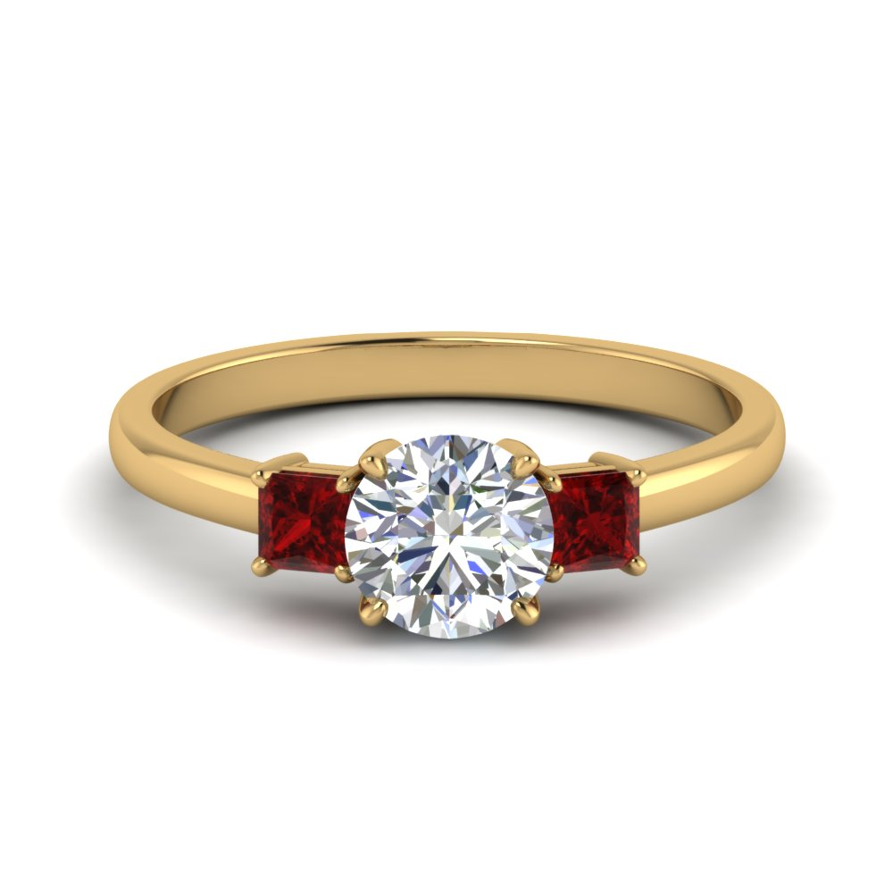 3 stone round cut engagement ring with ruby in 14K yellow gold FDENS3107RORGRUDR NL YG