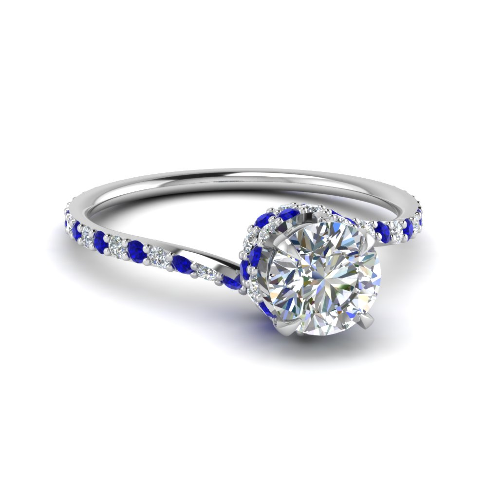 round cut diamond sleek spiral side stone engagement ring with blue sapphire in 14k white gold