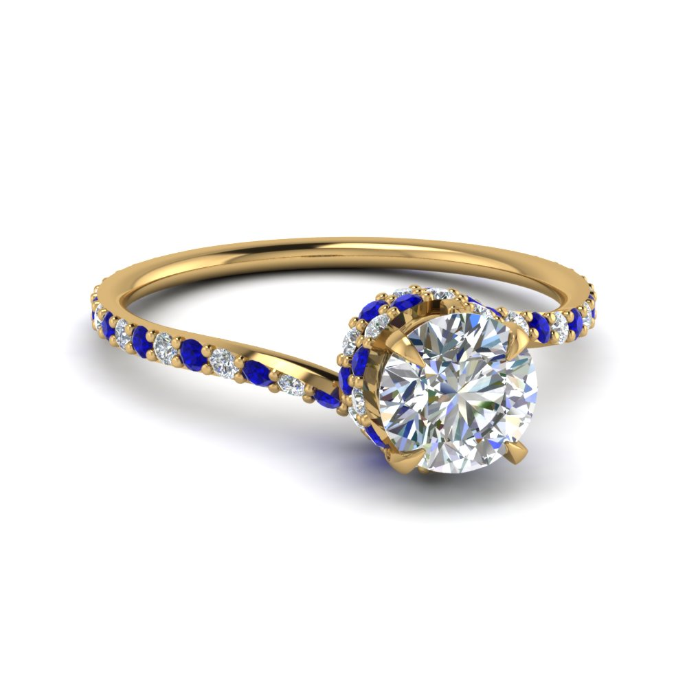 Round Cut Diamond Sleek Spiral Side Stone Engagement Ring With Blue Shire In 14k Yellow Gold