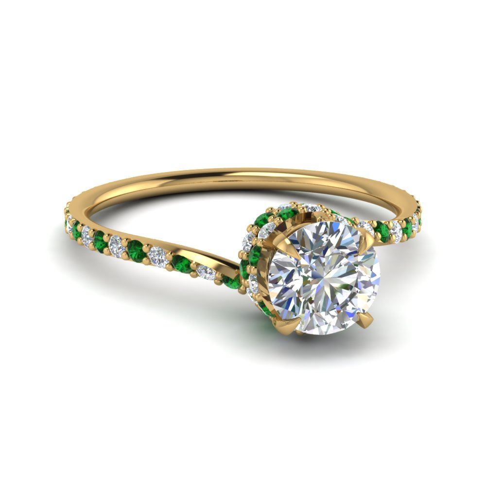 pave trio stone ring shop shape princess cut split emerald diamond octopus three center shank engagement rings side