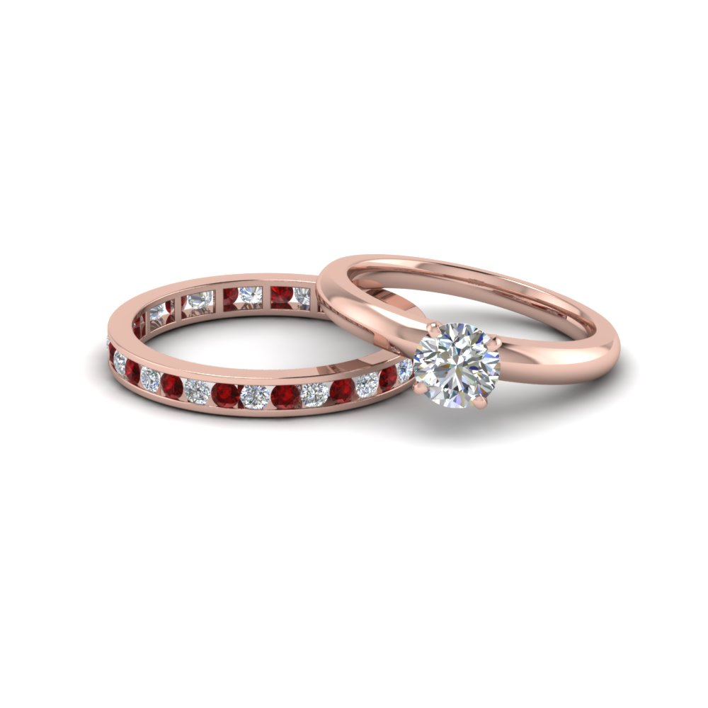 Round Cut Diamond Solitaire Ring With Eternity Band Ruby In Fd8218bgrudr Nl Rg