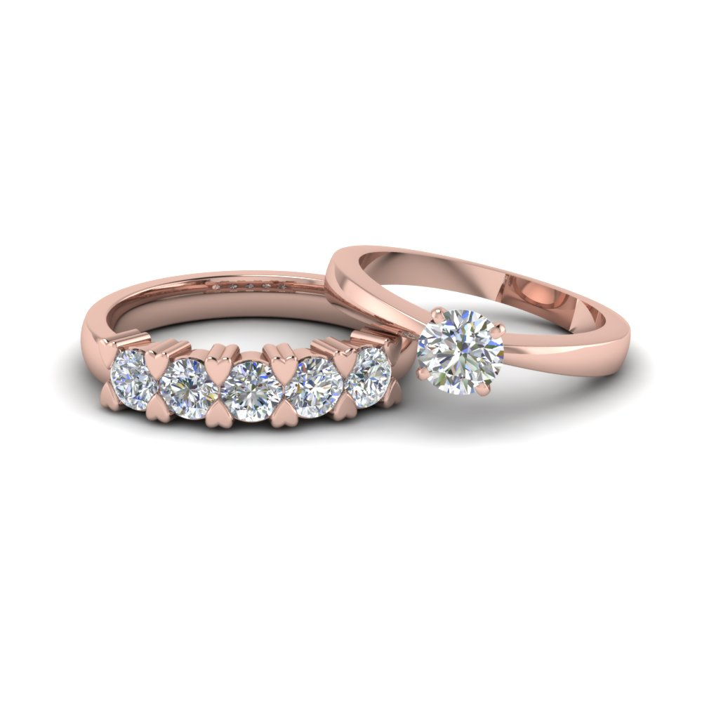 round cut diamond solitaire ring with matching 5 stone band in 14K rose gold FD8214B NL RG