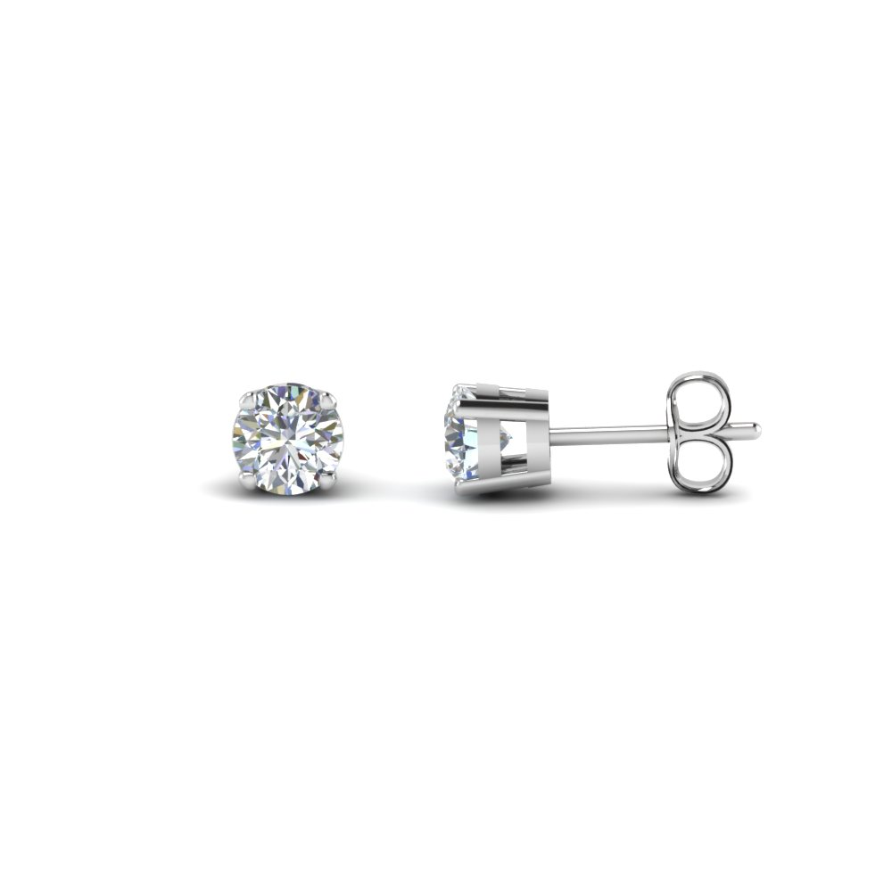 round cut diamond stud earring 2 carat in FDEAR4RO1CT NL WG