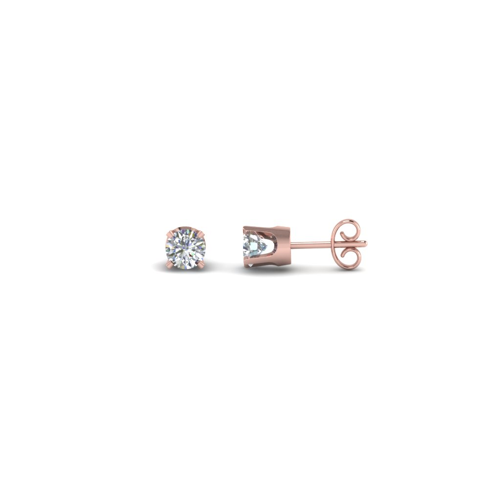 round cut diamond stud earrings in 14K rose gold FDEAR4RO20CT NL RG