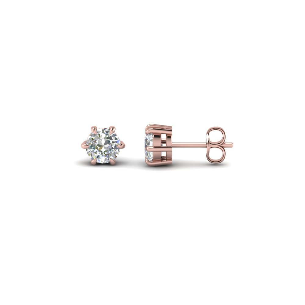 round cut diamond stud earrings in 14K rose gold FDEAR6RO50CT NL RG 38f5cb1537