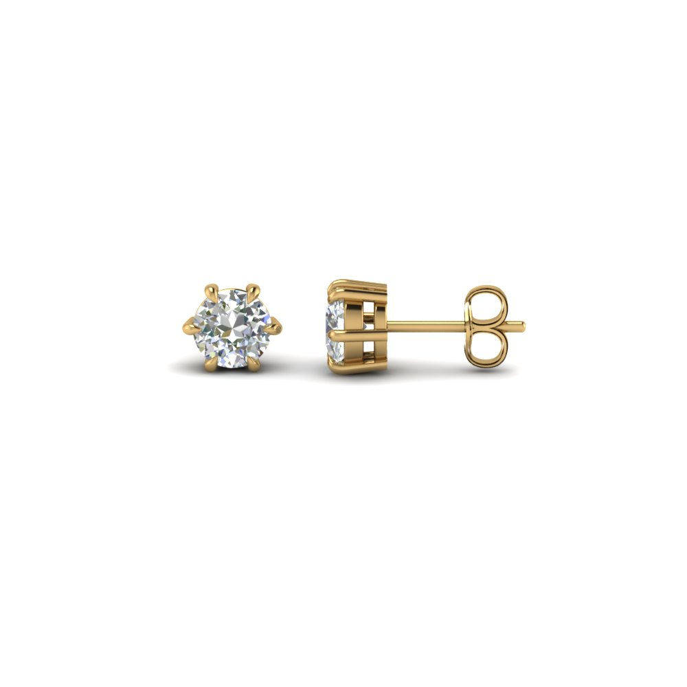 earrings other princess sizes basket double gold studs prong stud cut solid setting solitaire accent diamond white
