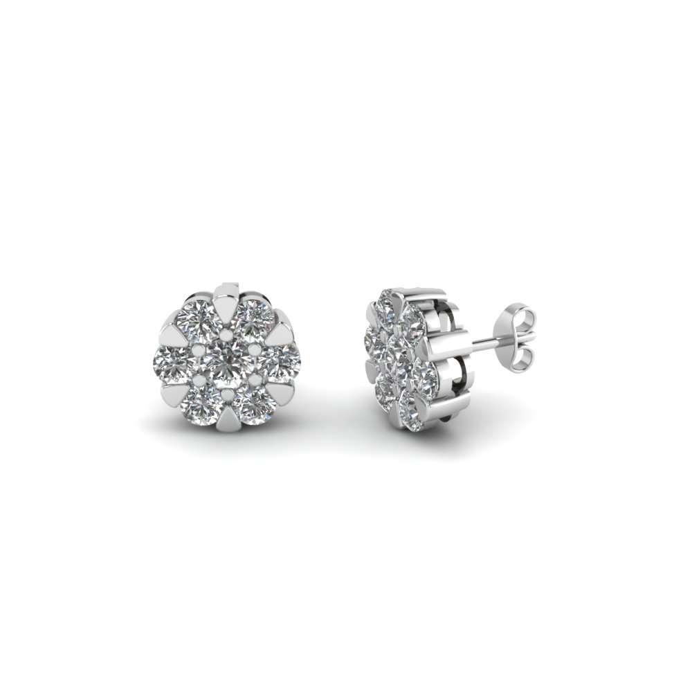 Round Cut Diamond Stud Earrings In 14k White