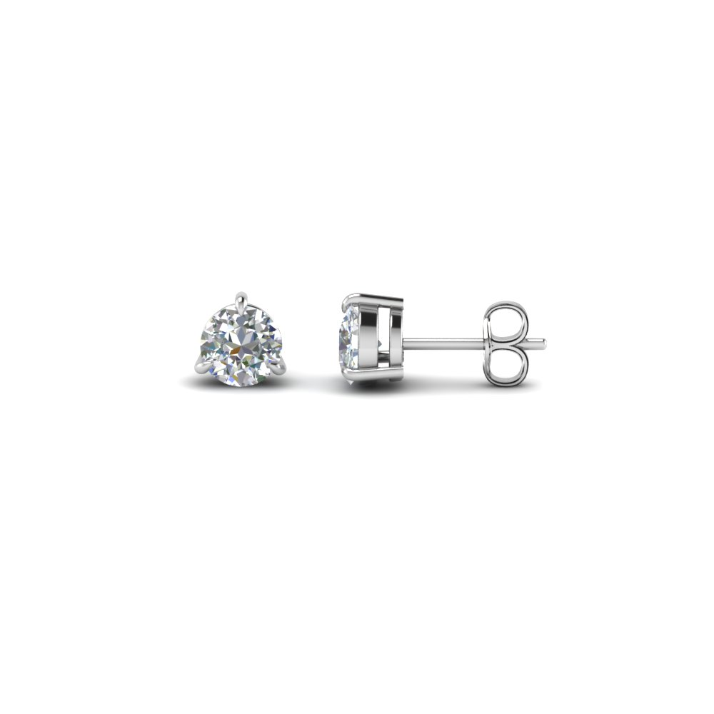 round cut diamond stud earrings in sterling silver FDEAR3RO50CT NL WG