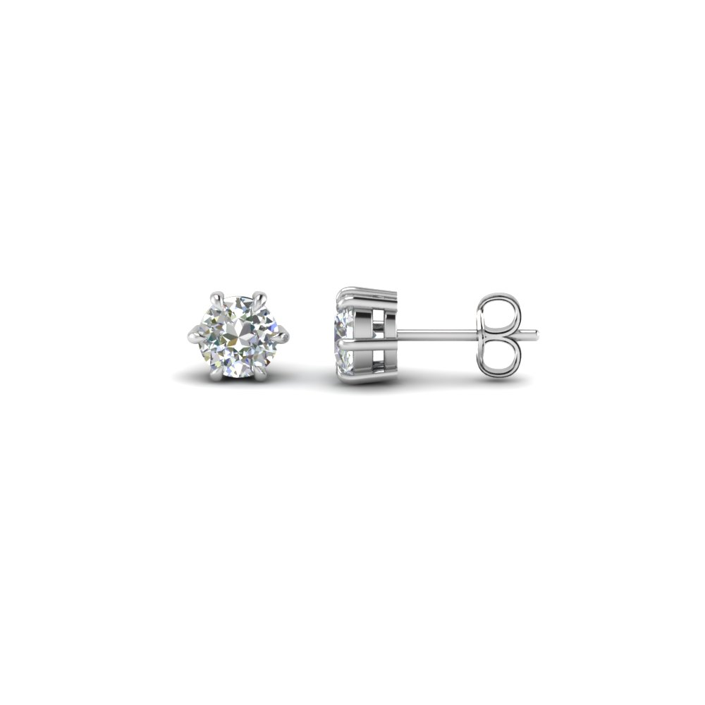 round cut diamond stud earrings in sterling silver FDEAR6RO50CT NL WG