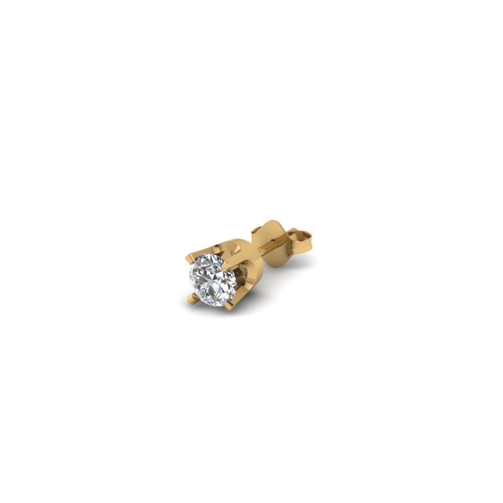 round cut diamond stud mens earrings in 14K yellow gold FDMS4RO20CT NL YG