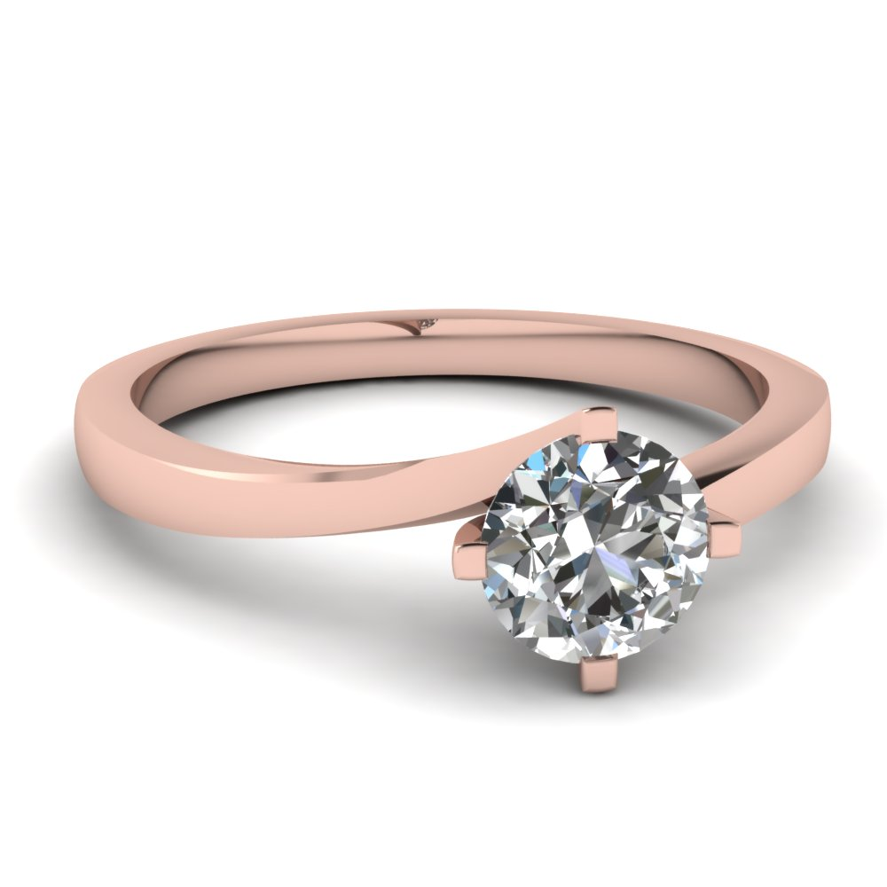 Round Cut Twisted Solitaire Diamond Ring In 14K Rose Gold