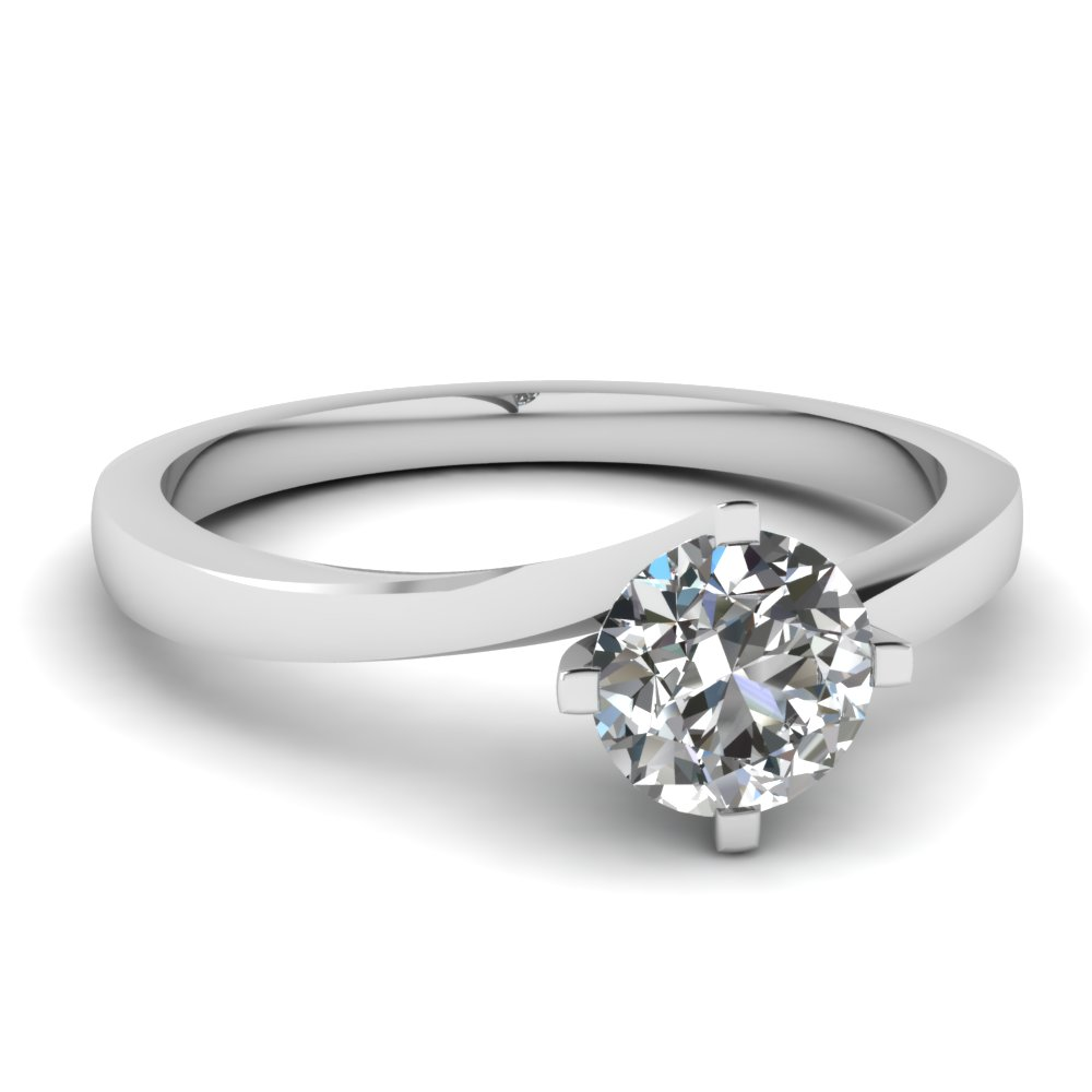 round cut twisted solitaire diamond ring in 14k white gold