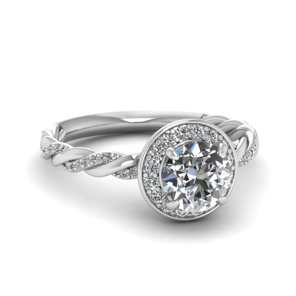 Twisted Vine Halo Diamond Ring