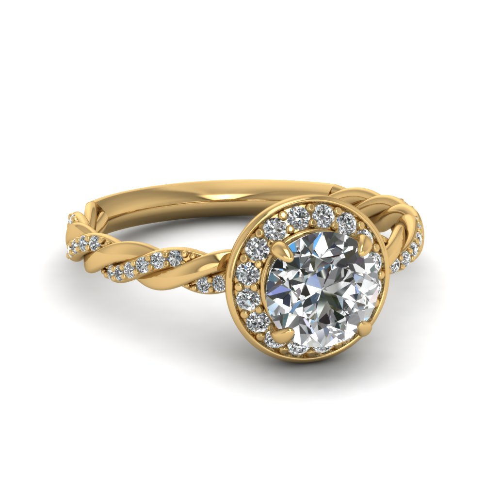Halo Twisted Vine Diamond Ring