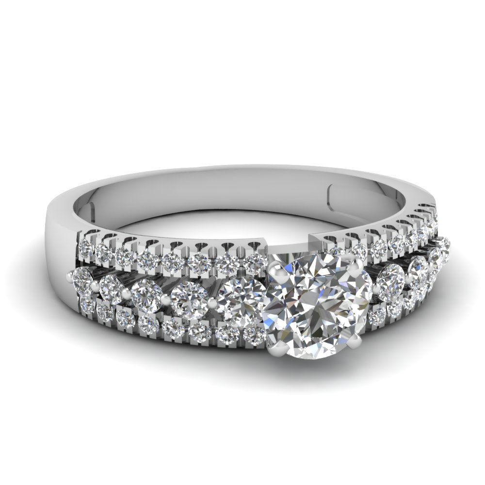 triple row round diamond engagement ring in FDENS3014ROR NL WG