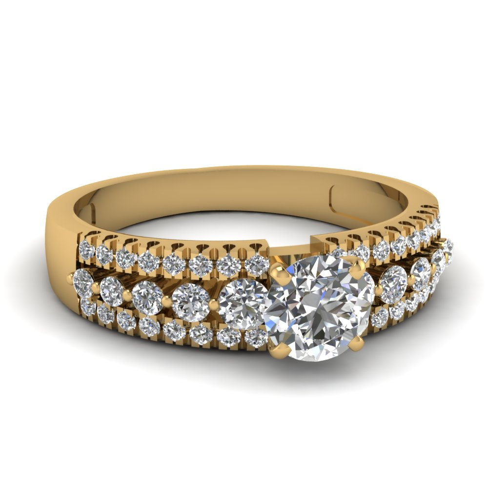 French Pave Round Cut Diamond Ring