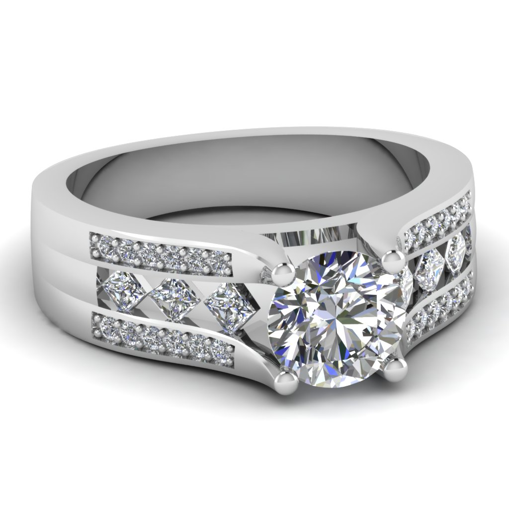 White Gold Kite Pattern Diamond Ring