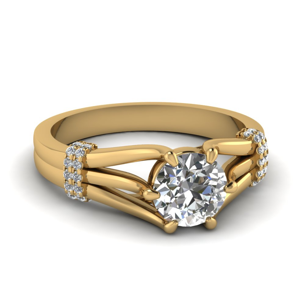 Split Shoulder Yellow Gold Engagement Ring