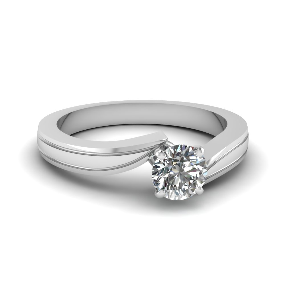 round cut twisted solitaire engagement ring in 18K white gold FDENR6677ROR NL WG