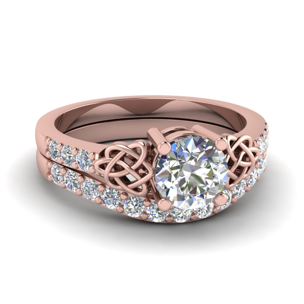 round cut diamond wedding ring set in 14k rose gold fdens2255ro nl rg - Rose Gold Wedding Ring Set