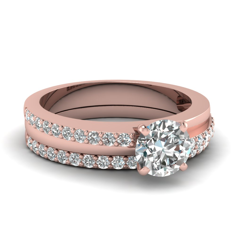 round cut diamond wedding ring set in 14k - Rose Gold Wedding Ring Sets