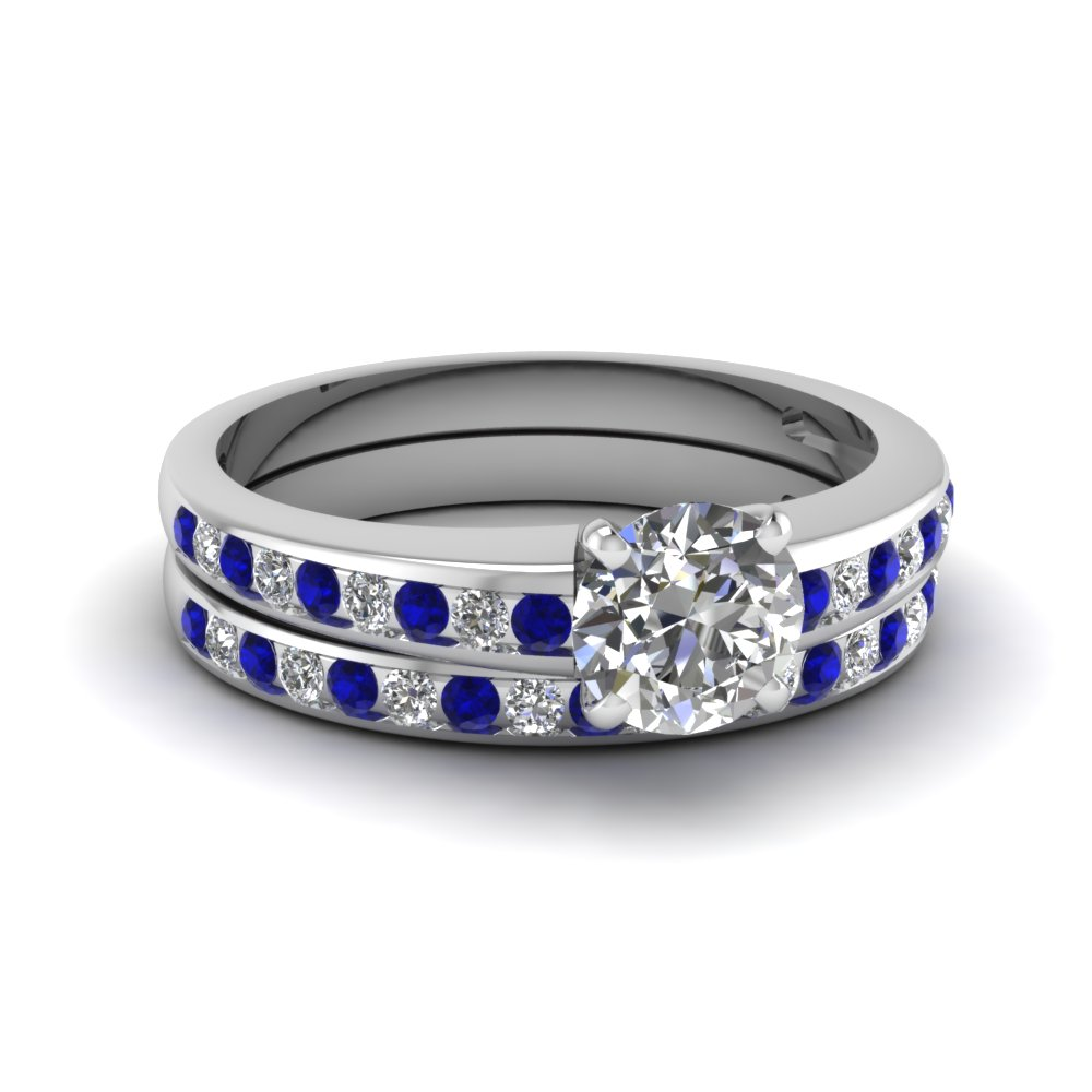 round channel diamond with sapphire wedding set in FDENS3018ROGSABL NL WG