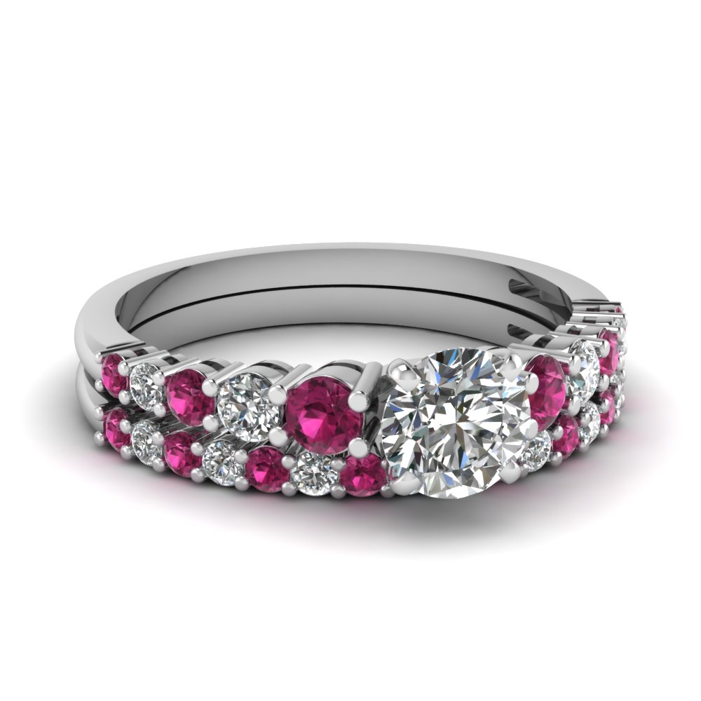 graduated round diamond wedding ring set with pink sapphire in FDENS3056ROGSADRPI NL WG