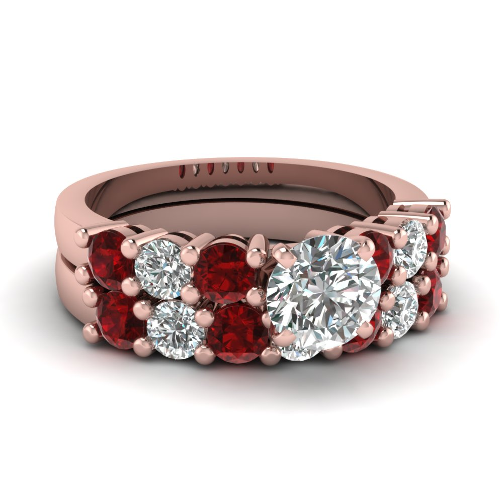 Round Cut Red Ruby Wedding Sets