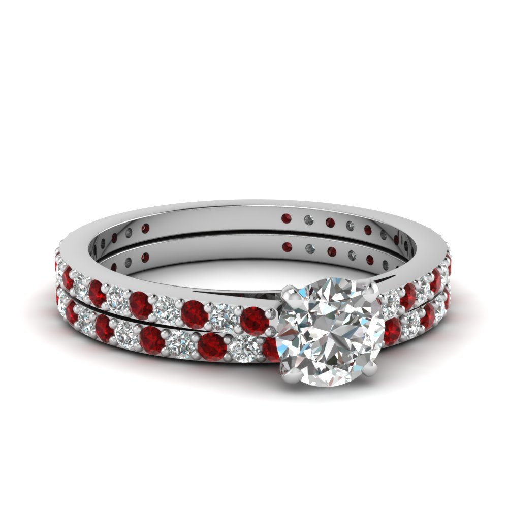 classic delicate round cut diamond wedding ring set with ruby in FDENS1425ROGRUDR NL WG