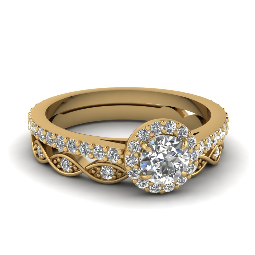 Round Cut Diamond Wedding Ring Sets In 14K Yellow Gold Fascinating