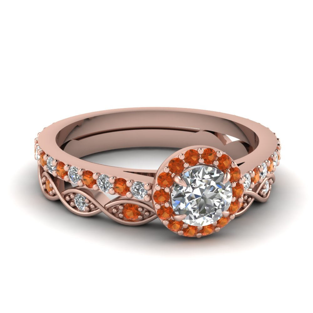 Unique Round Diamond Halo Engagement Ring and Infinity Wedding Band in Rose Gold