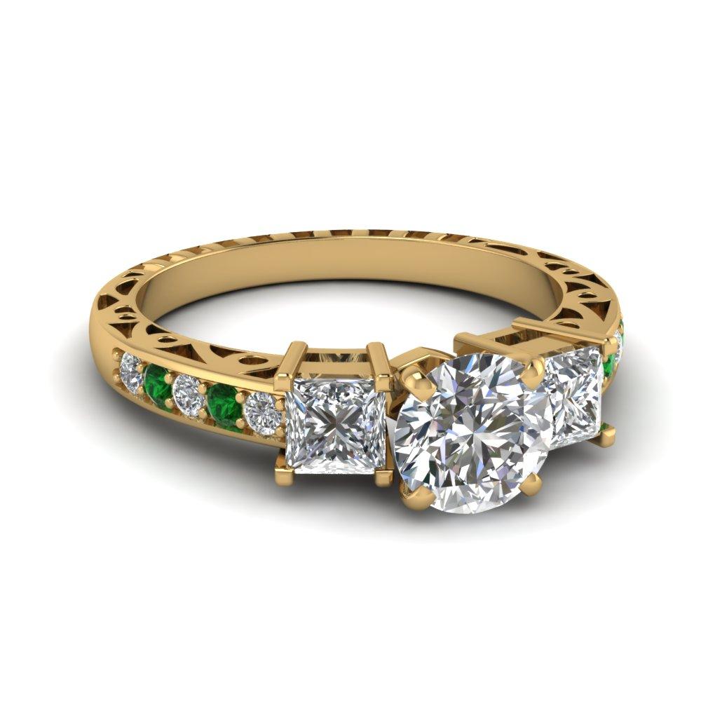 round cut vintage 3 stone diamond engagement ring with emerald in FDENR1816RORGEMGR NL YG.jpg