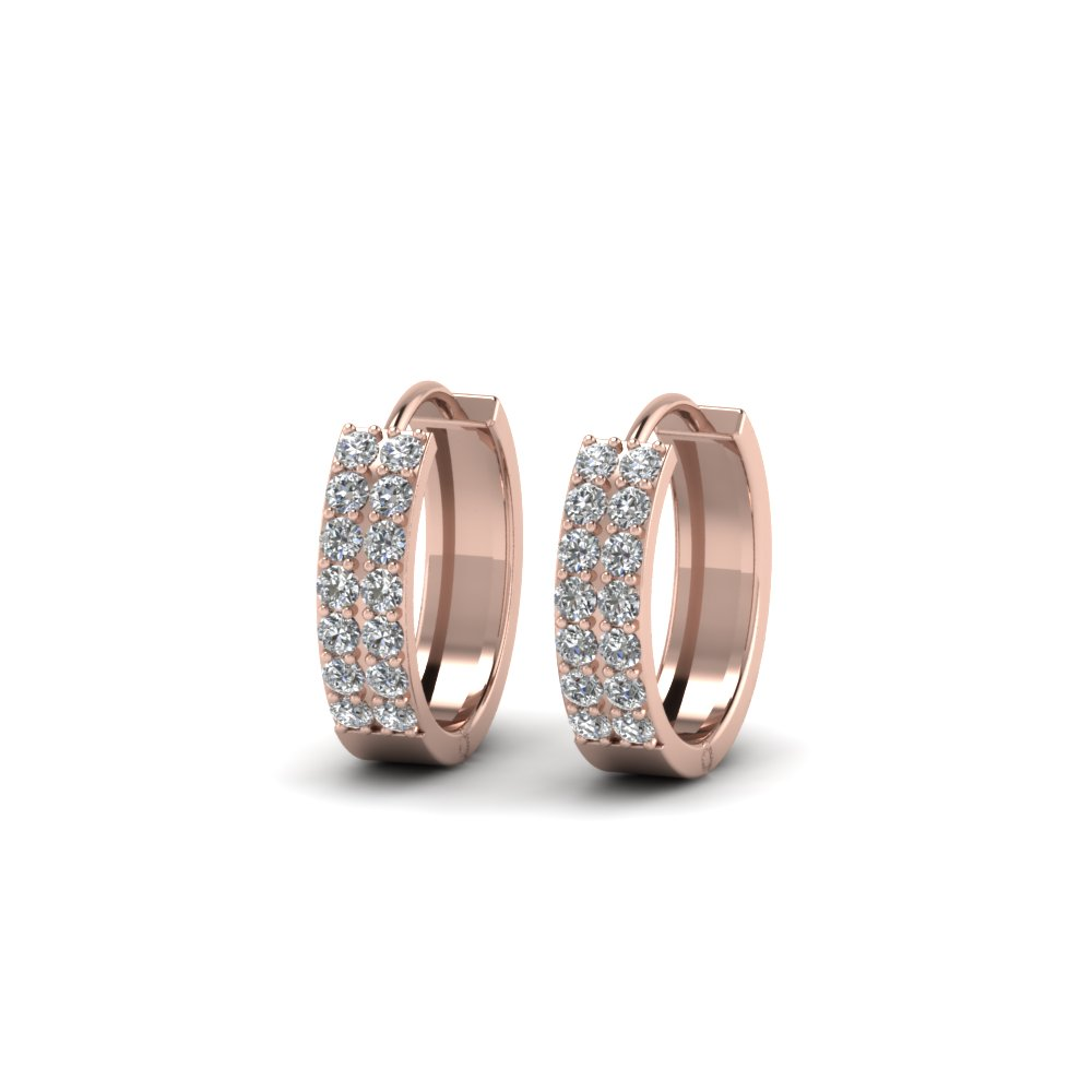 Double Row Diamond Gold Hoop Earrings