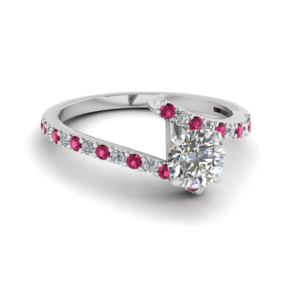 petite bypass round cut diamond engagement ring with pink sapphire in FDENS3007RORGSADRPI NL WG