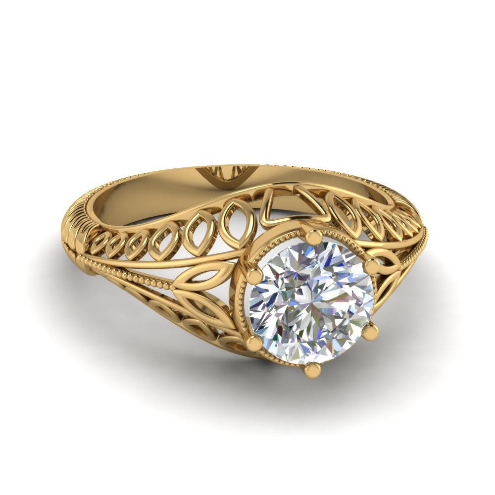 edwardian filigree solitaire engagement ring in FDENR9535ROR NL YG