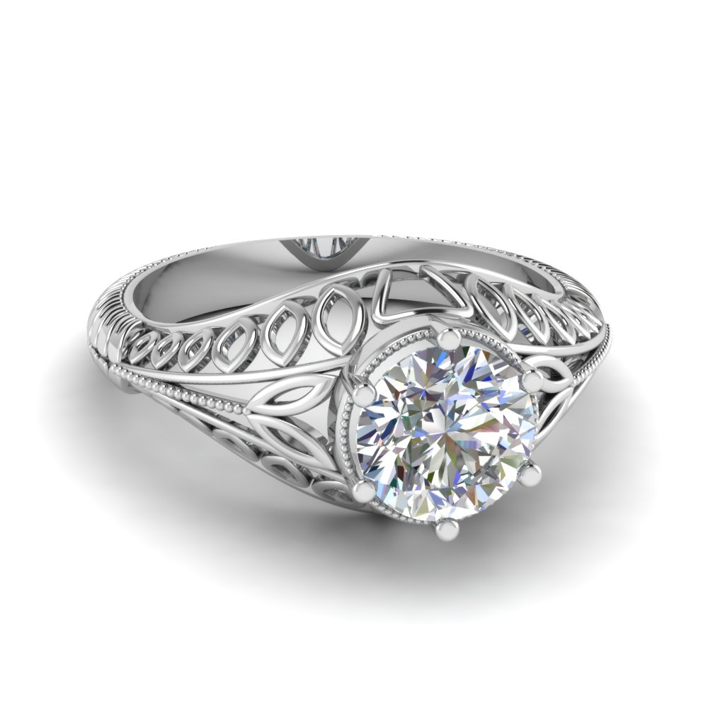 21f5340d9c2ff Edwardian Filigree Solitaire Engagement Ring In 18K White Gold