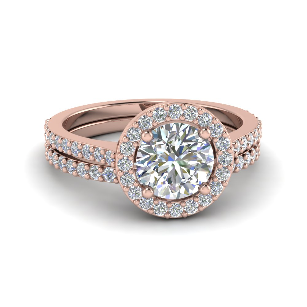 Round Cut Double Band Halo Diamond Wedding Ring Sets In 14k Rose Gold Fd8148 Ro