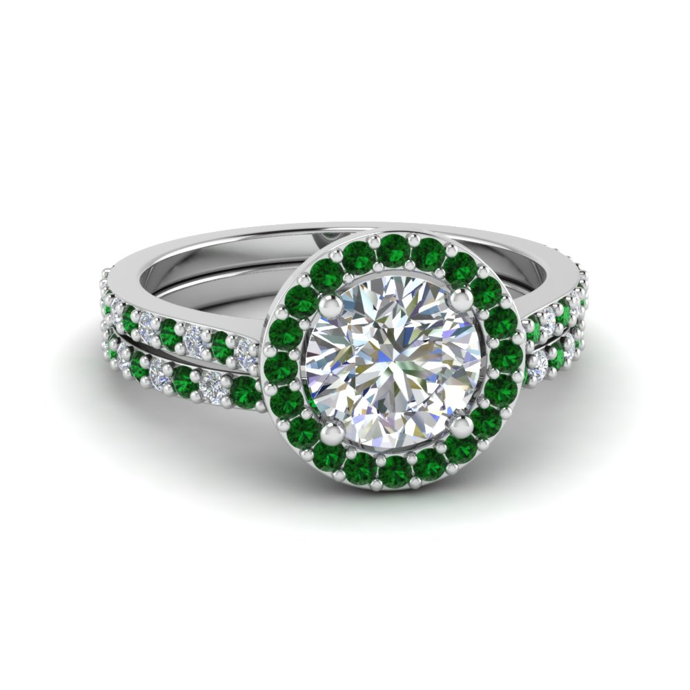 Round Cut Double Band Halo Diamond Wedding Ring Sets With Emerald In 18k White Gold Fd8148