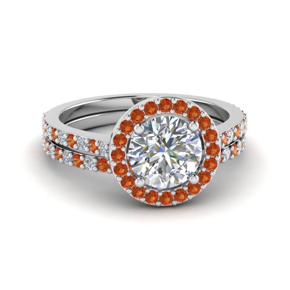 round cut double band halo diamond wedding ring sets with orange sapphire in 950 platinum fd8148 - Double Band Wedding Ring