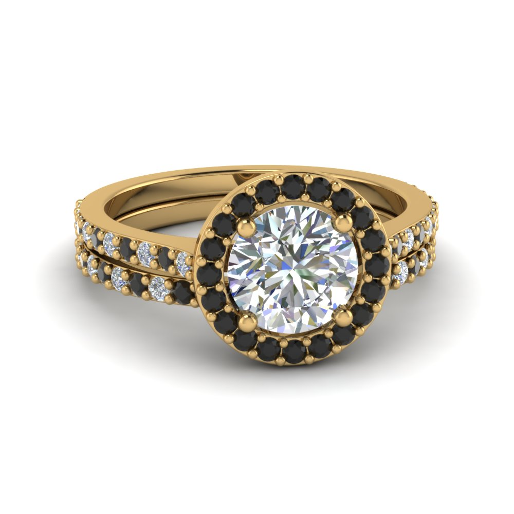 round cut double band halo wedding ring sets with black diamond in 14k yellow gold fd8148