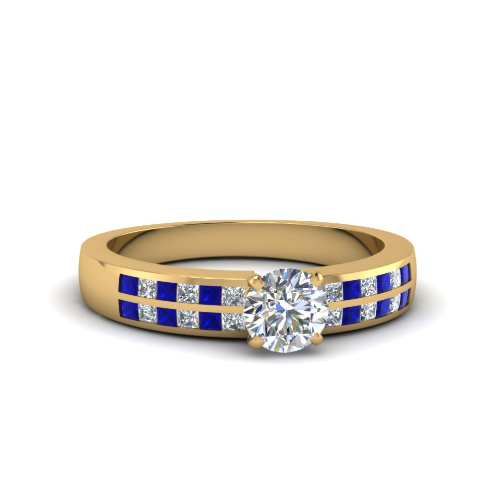 Gold Engagement Ring With Princess Sapphire