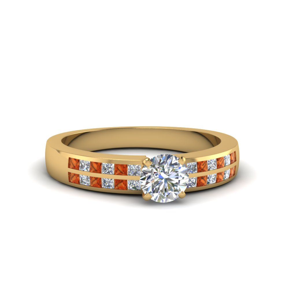 round cut double row channel diamond wide ring with orange sapphire in 14K yellow gold FDENS3122RORGSAOR NL YG