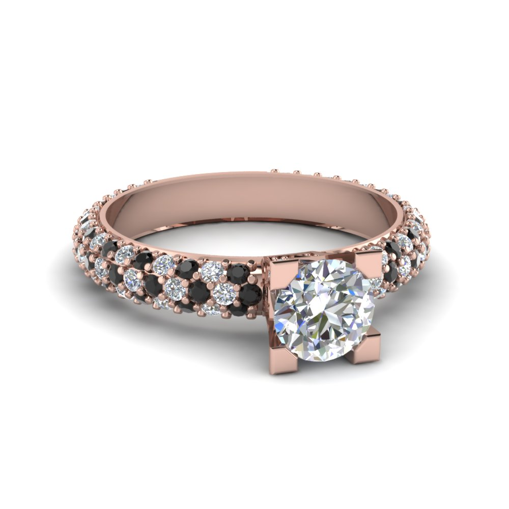Triple Row Pave Set Engagement Ring