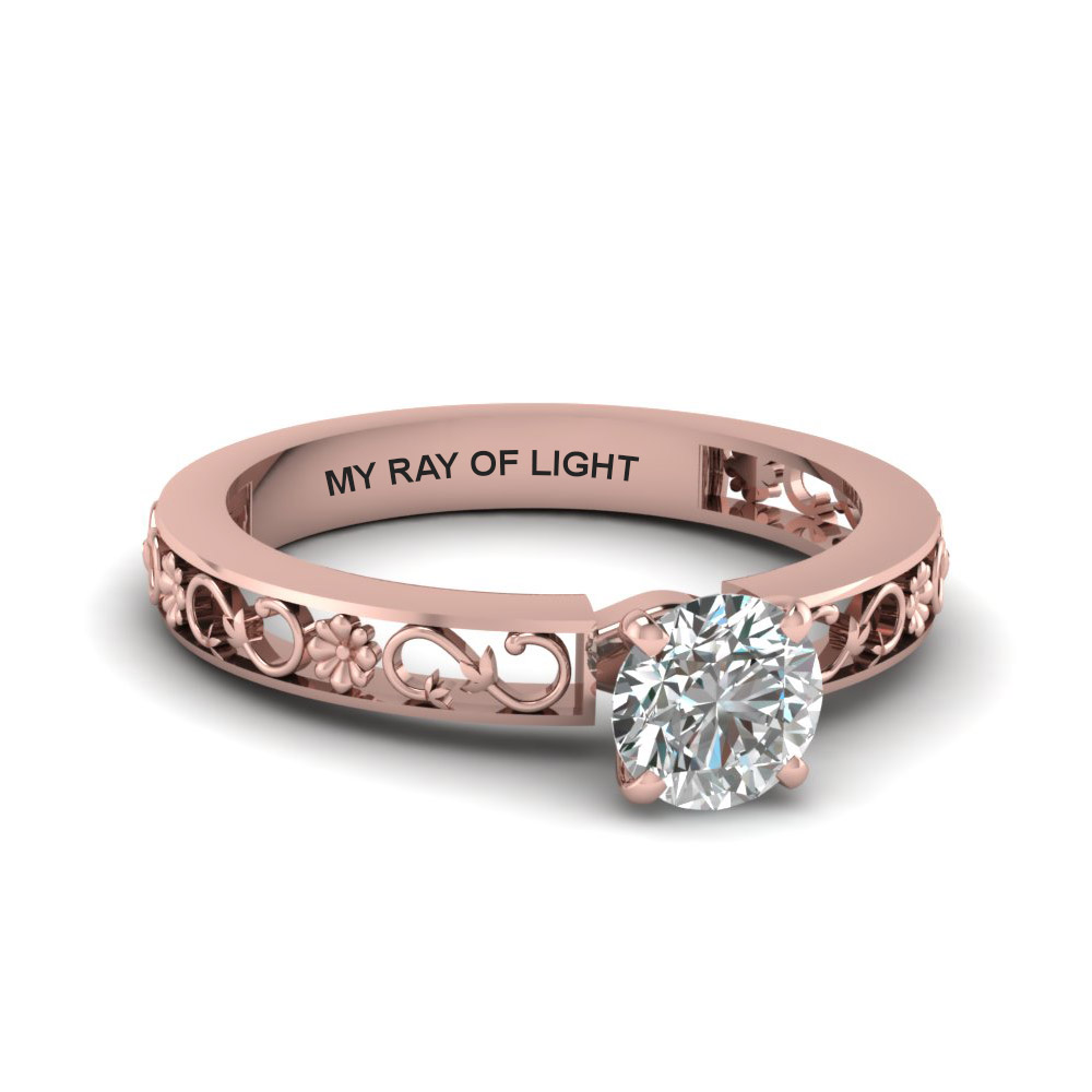 Round Cut Engraved Solitaire Diamond Engagement Ring In 14k Rose Gold  Fdens3286ror Nl Rg