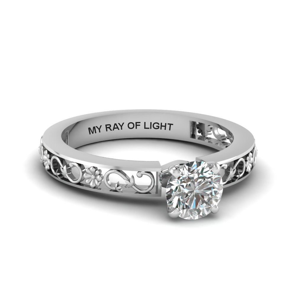 round cut engraved solitaire diamond engagement ring in  14K white gold FDENS3286ROR NL WG