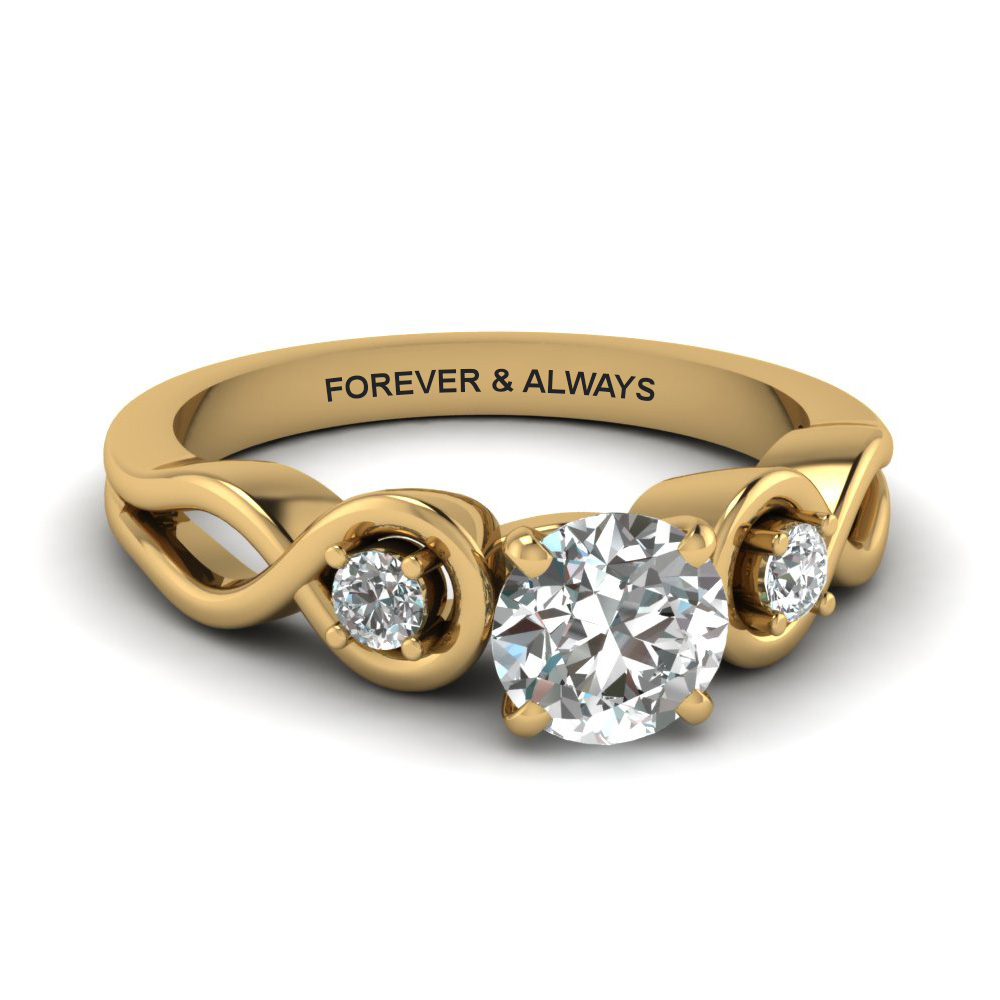 round cut engraved three stone diamond engagement ring in 14K yellow gold FD1154ROR NL YG