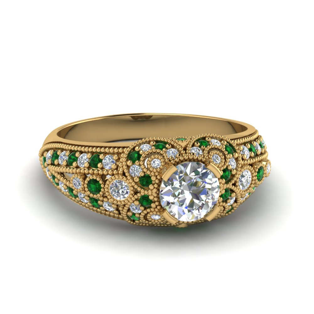 estate diamond engagement ring with emerald in 14K yellow gold FDENR8464RORGEMGR NL YG