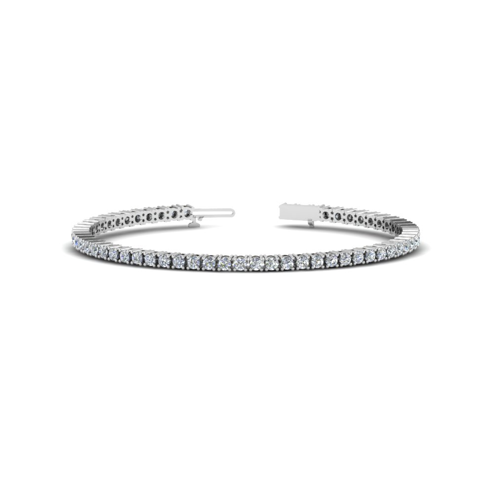 round cut eternity diamond tennis bracelets in 14K white gold FDBR00004RO NL WG