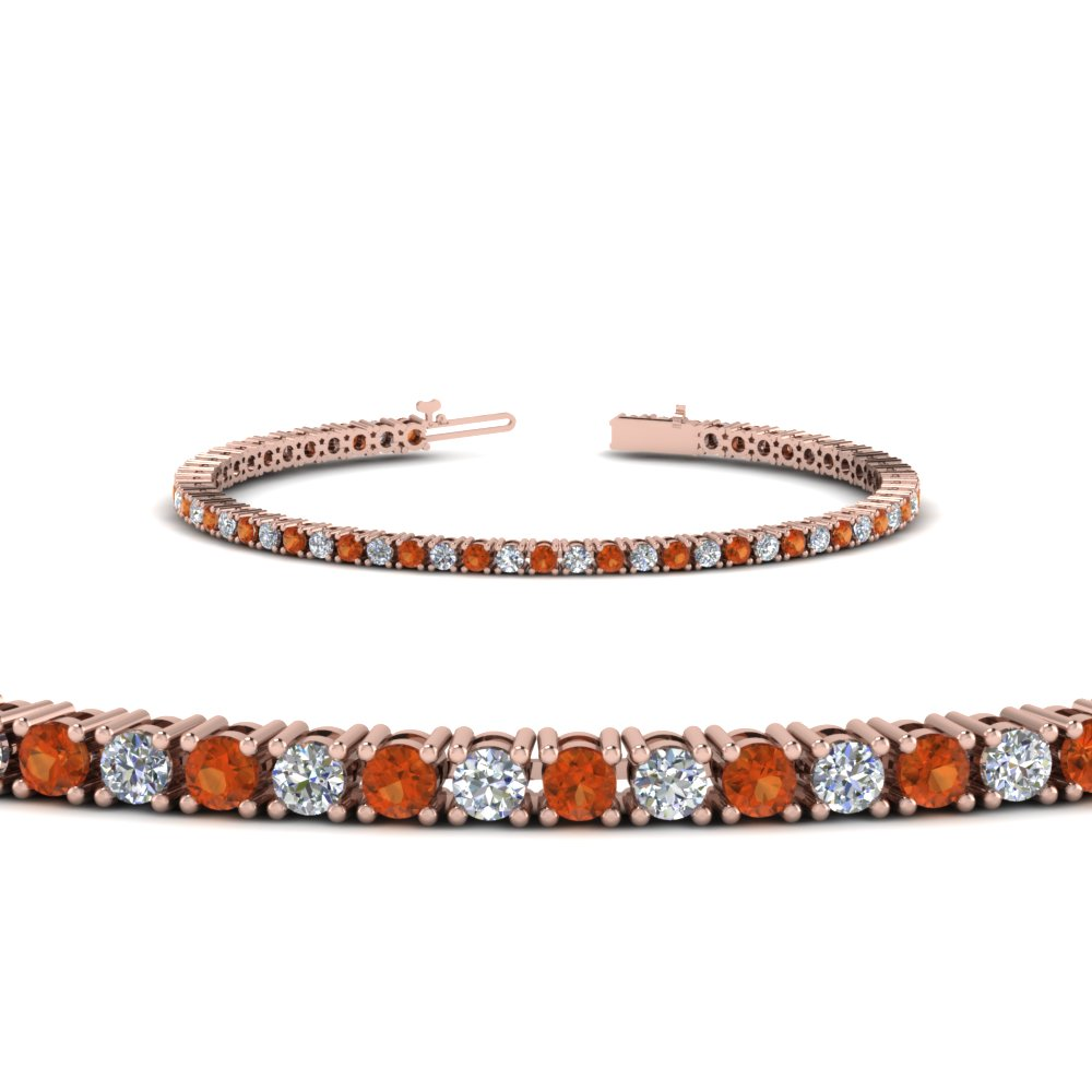 Orange Sapphire Diamond Tennis Bracelet